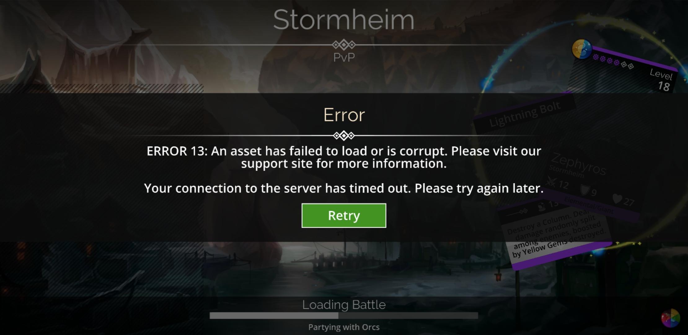 Error 13 and Error 16: An asset has failed to download – Gems of War